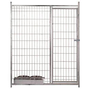 Frente de malla con puerta y con comederos para boxes caninos
