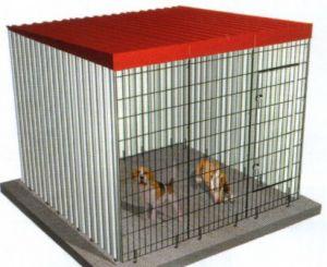 Jaula Modular para perros con dos laterales y parte trasera de chapa. Medidas Frente 201; Fondo: 201; Alto:174