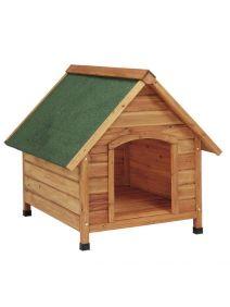 Caseta para perros de madera mediana tejado a dos aguas